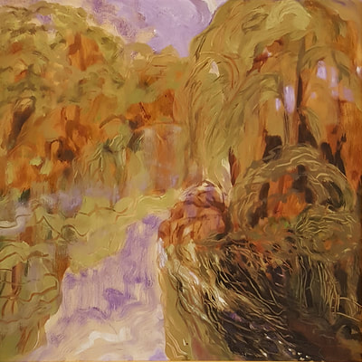 Catherine Morrisey ~ Willow over the River, Oil, 23.5 x 23.5   $1000